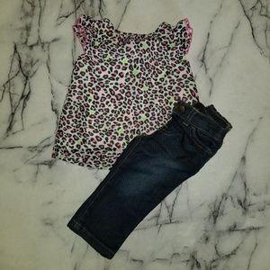 Cheetah Print Top and Pants Set